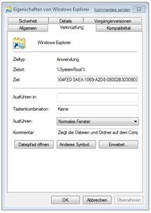 Eigenschaften des Windows Explorers