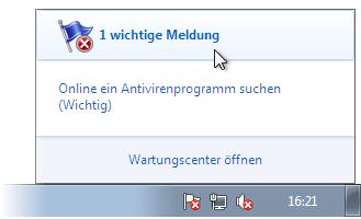 Das Wartungscenter im Infobereich von Windows 7
