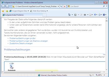 Webarchiv eines aufgezeichneten Problems