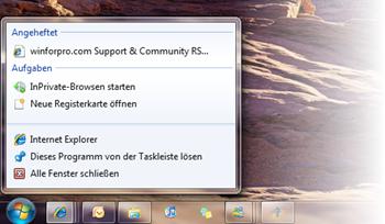 Internet Explorer 8 Sprunglisten