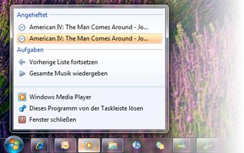 Windows Media Player Sprunglisten
