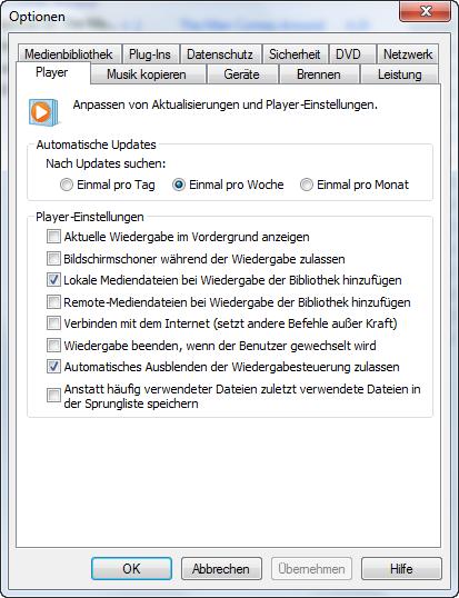 Windows Media Player Optionen