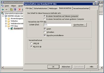 FTP Server Konfiguration