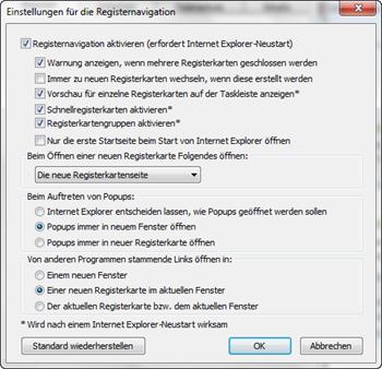 Einstellungen der Registerkartennavigation (Tabs)