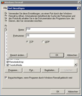Firewall Ausnahme