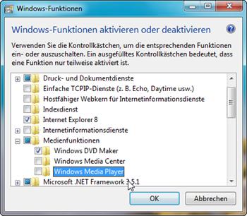 Windows Media Player deaktivieren