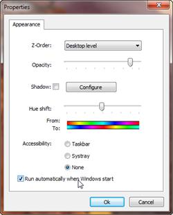Einstellungen des Taskleisten-Schattens