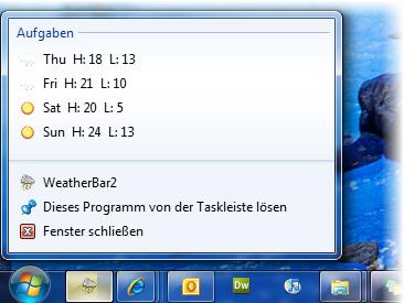 Anzeige von WeatherBar in der Taskleiste.